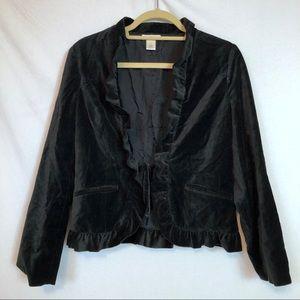 Harold's Black Velvet Jacket Ruffle detail size 6